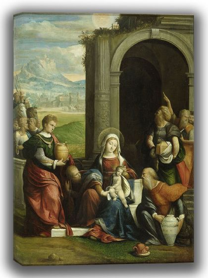 Garofalo, Benvenuto Tisi da: The Adoration of the Magi. Fine Art Canvas. Sizes: A4/A3/A2/A1 (004032)
